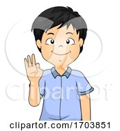 Kid Boy Sign Language Number Nine Illustration