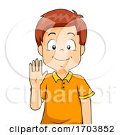 Kid Boy Sign Language Number Five Illustration