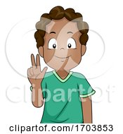 Kid Boy Black Sign Language Three Illustration