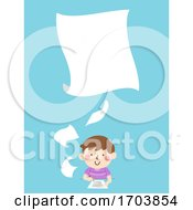 Kid Boy Write Papers Illustration