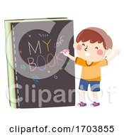 Kid Boy Write My Book Illustration