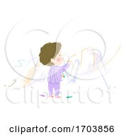 Kid Boy Toddler Scribble Wall Illustration