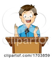 Kid Boy Speech Podium Illustration