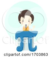 Kid Boy Pi Symbol Speech Illustration