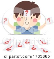 Kid Boy Papers Question Marks Illustration