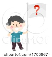 Kid Boy Hold Flag Question Mark Illustration