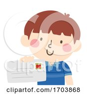 Kid Boy Give Letter Illustration
