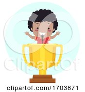Kid Boy Black Trophy Lectern Speech Illustration