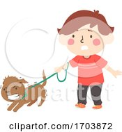 Kid Boy Protective Pet Dog Illustration
