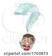 Kid Boy Tornado Drill Question Mark Illustration