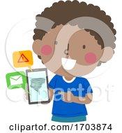 Poster, Art Print Of Kid Boy Tornado Phone Message Warning Device