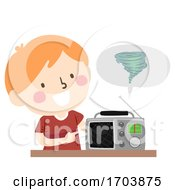 Poster, Art Print Of Kid Boy Tornado Warning Device Radio Illustration