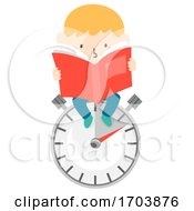Kid Boy Speed Reading Book Illustration
