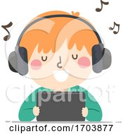 Kid Boy Sing Mobile Song Illustration