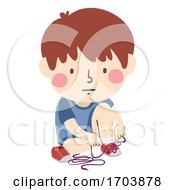 Kid Boy Shoe Lace Tying Tangled Illustration