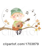 Poster, Art Print Of Kid Boy Sing Autumn Song Illustration