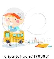 Poster, Art Print Of Kid Boy Play Box Bus Craft Illustration