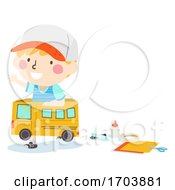 Kid Boy Play Box Bus Craft Illustration