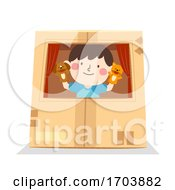Kid Boy Play Puppet Inside Box Illustration by BNP Design Studio