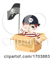 Kid Boy Pirate Box Illustration
