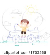 Kid Boy Draw Chalk Ride Car Illustration