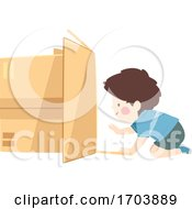 Kid Boy Crawl Inside Box Illustration