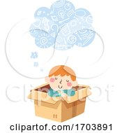 Kid Boy Thinking Cloud Imagination Illustration