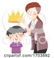 Kid Boy Teacher Put Crown Illustration