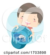 Kid Boy Fish Pail Illustration