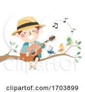 Poster, Art Print Of Kid Boy Spring Birds Sing Illustration