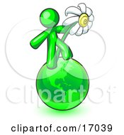 Lime Green Man Standing On The Green Planet Earth And Holding A White Daisy Symbolizing Organics And Going Green For A Healthy Environment Clipart Illustration by Leo Blanchette
