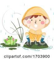 Poster, Art Print Of Kid Boy Spring Croak Like Frog Illustration