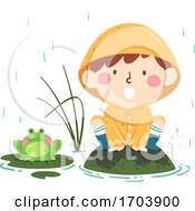 Kid Boy Spring Croak Like Frog Illustration