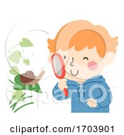 Kid Boy Spring Observe Garden Snail Illustration