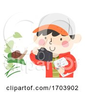Kid Boy Spring Photo Hunt Snail Illustration