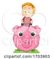 Poster, Art Print Of Kid Boy Fun Farm Haystack Pig Art Illustration