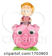 Kid Boy Fun Farm Haystack Pig Art Illustration