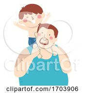 Kid Boy Dad Back Ride Swimming Illustration