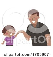 Kid Boy Dad Fist Bump Illustration