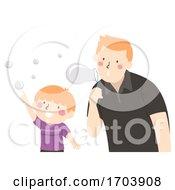 Poster, Art Print Of Kid Boy Dad Play Bubbles Illustration
