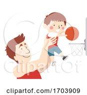 Poster, Art Print Of Kid Boy Father Shoot Ball Basketball Illustration