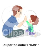 Kid Boy Man Father Son High Five Illustration