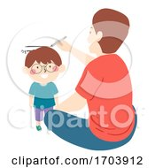 Kid Boy Man Father Son Measure Height Illustration