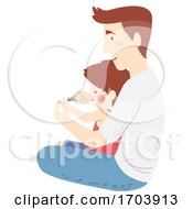 Kid Boy Man Father Son Nail Cutter Illustration