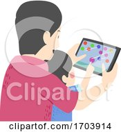 Poster, Art Print Of Kid Boy Man Father Son Games Tablet Illustration