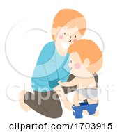 Kid Boy Man Father Son Put Pants On Illustration