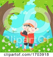 Poster, Art Print Of Kid Boy Camera Picture Dragonfly Illustration