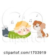 Poster, Art Print Of Kid Boy Dog Sing Illustration