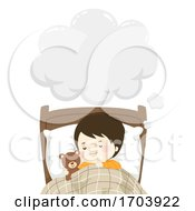 Kid Boy Sleep Dream Speech Cloud Illustration