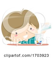 Kid Boy Pouring Water Mix Color Chalk Illustration